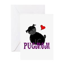 Black StickPugmom Greeting Card