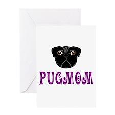 Black Pugmom Greeting Card