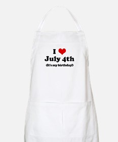 I Love July 4th (my birthday) BBQ Apron