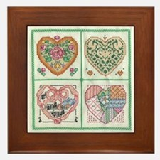 4-Hearts Cross-Stitch Framed Tile