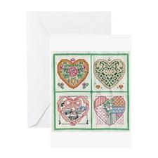 4-Hearts Cross-Stitch Greeting Card