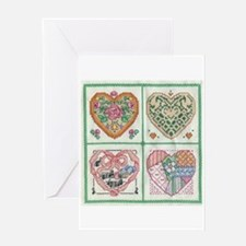 4-Hearts Cross-Stitch Greeting Card