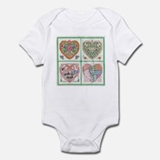 4-Hearts Cross-Stitch Infant Bodysuit