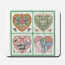 4-Hearts Cross-Stitch Mousepad