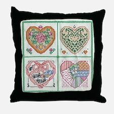 4-Hearts Cross-Stitch Throw Pillow