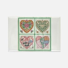 4-Hearts Cross-Stitch Rectangle Magnet