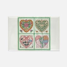 4-Hearts Cross-Stitch Rectangle Magnet (10 pack)