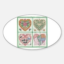 4-Hearts Cross-Stitch Oval Decal
