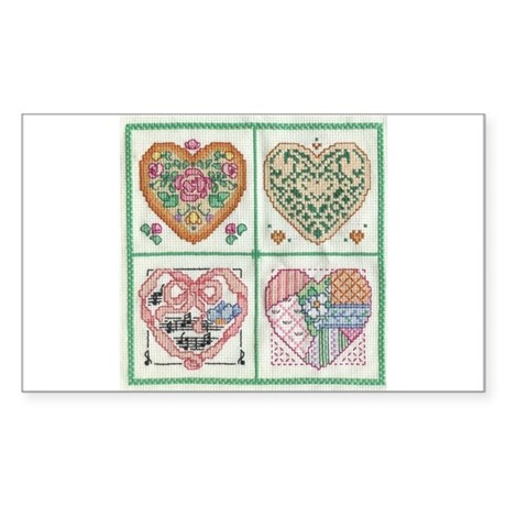 4-Hearts Cross-Stitch Rectangle Sticker