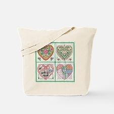 4-Hearts Cross-Stitch Tote Bag
