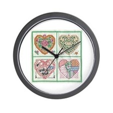 4-Hearts Cross-Stitch Wall Clock