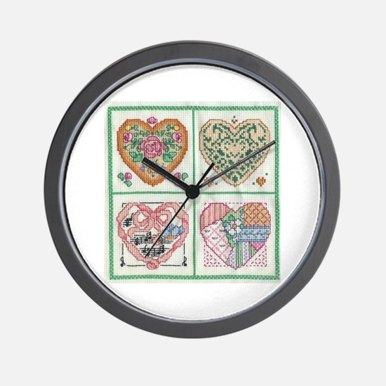 4-Hearts Cross-Stitch Wall Clock