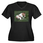 Sleeping foal Women's Plus Size V-Neck Dark T-Shir
