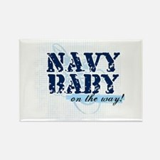Navy Baby On The Way (v2) Rectangle Magnet