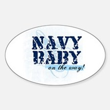 Navy Baby On The Way (v2) Oval Decal