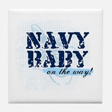 Navy Baby On The Way (v2) Tile Coaster