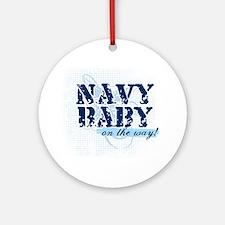 Navy Baby On The Way (v2) Ornament (Round)