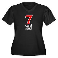 7 Card Stud Poker Women's Plus Size V-Neck Dark T-