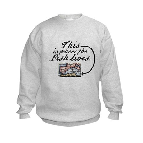 This Is Where The Fish Lives Kids Sweatshirt