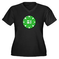 TY 4 UR $ Poker Women's Plus Size V-Neck Dark T-Sh