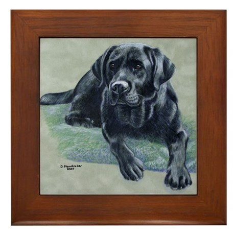 Classic Black Lab Framed Tile