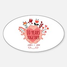 Personalized 10th Anniversary Sticker (Oval)