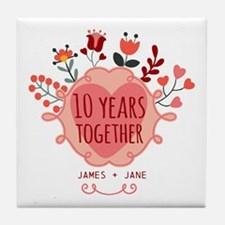 Personalized 10th Anniversary Tile Coaster