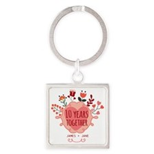 Personalized 10th Anniversary Square Keychain