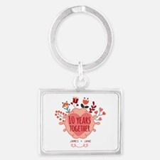 Personalized 10th Anniversary Landscape Keychain