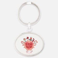 Personalized 10th Anniversary Oval Keychain