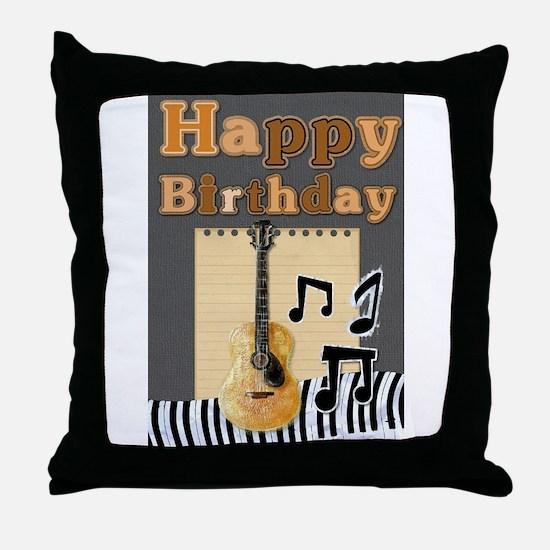 Musical Guitar Happy Birthday Throw Pillow