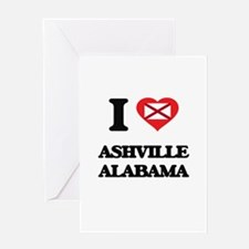 I love Ashville Alabama Greeting Cards