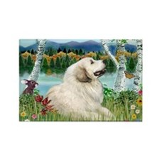 Country Birches & Great Pyrenees Rectangle Magnet