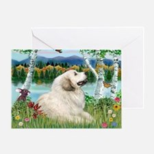 Country Birches & Great Pyrenees Greeting Card