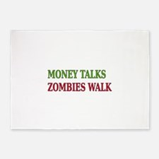 Money Talks Zombies Walk Newsprint 5'x7'Area Rug