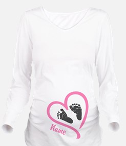 Baby Feet Pink Long Sleeve Maternity T-Shirt