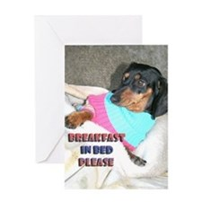 Breakfast In Bed Doxie Dog Greeting Card