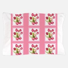 Pink tulips flowers Pillow Case