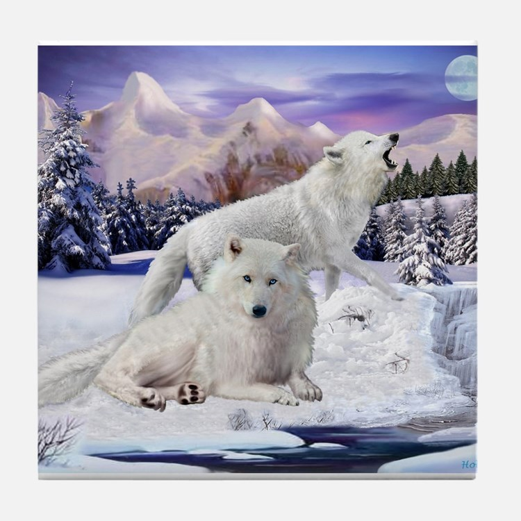Snow Wolves of the Wild Tile Coaster