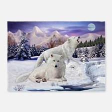 Snow Wolves of the Wild 5'x7'Area Rug