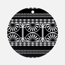 Lines Curves black and white Ornament (Round)