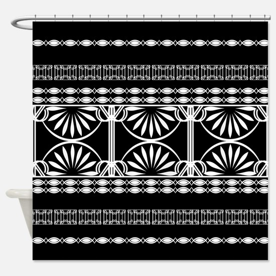 Lines Curves black and white Shower Curtain
