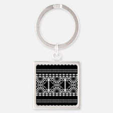 Lines Curves black and white Keychains