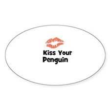 Kiss Your Penguin Oval Decal