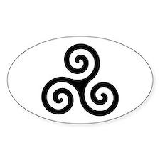 Triskele Symbol (Triple Spiral) Oval Decal