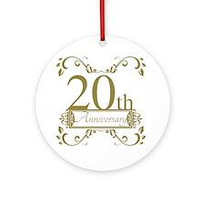 20th Wedding Anniversary Round Ornament