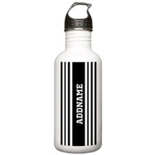 Black and White Stripe Sports Water Bottle