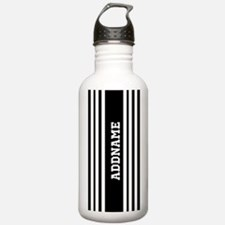 Black and White Stripe Water Bottle