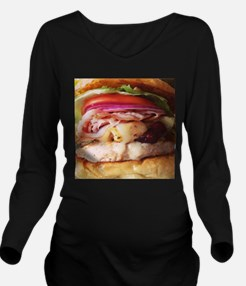 funny chicken burger Long Sleeve Maternity T-Shirt