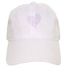 White Curly Heart Baseball Cap
